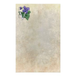 for Violets Flower Monogram Stationery Paper
