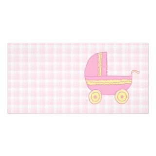 Baby Stroller. Pink and Yellow on Pink Check. Photo Cards