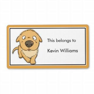 Cute Dog School Supplies Labels Personalized Shipping Label