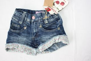 Vingino Jeans Short kurze Hose Jeans mit Blümchenabschluß Gr. 4/104
