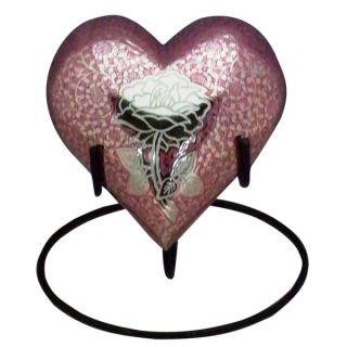 Star Legacy's Feline Pink Rose Heart Pet Urn w/stand   Pet Memorial   Cat
