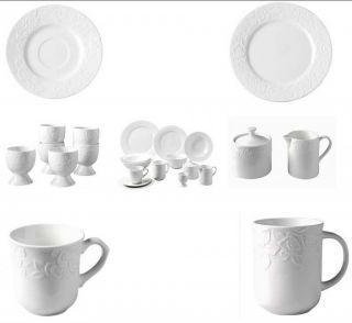 Porzellan 32 tlg. Frühstücksservice Rosen Relief Kaffeeservice  EB
