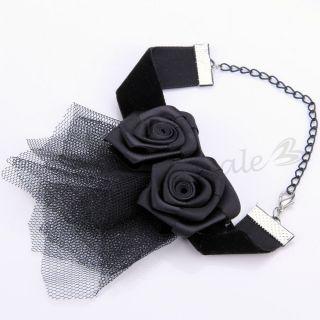 Satin Organza Blumen Armkette Kette Armband Armreif Gothic Retro