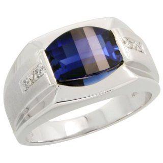 10 Karat Weissgold Comfort Fit Herren Ring Brilliantschliff Diamanten