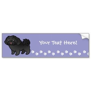 Cartoon Shih Tzu (black puppy cut) bumper stickers by SugarVsSpice