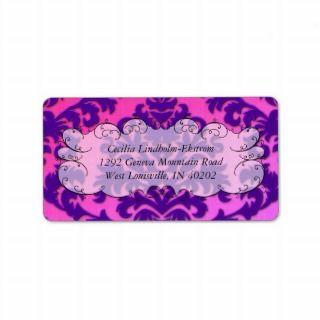 Damask Cut Velvet, Backlit in Purple and Hot Pink Address Label