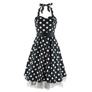 Neckholder Kleid DOTTED DRESS black/white Bekleidung