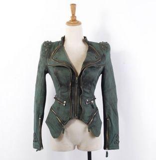Ladys Studded Shoulder Denim Jeans Tuxedo Coat Notched Lapel Blazer