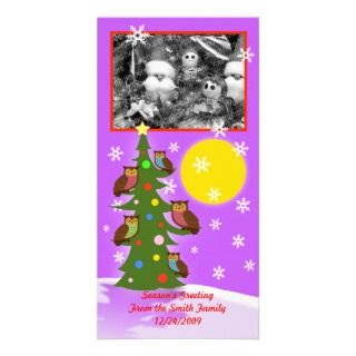 Christmas owl tree customized photo card