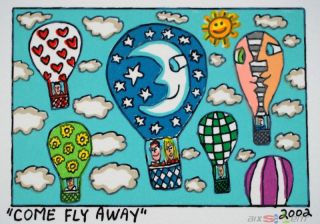 James Rizzi Serie 81 Prints on the wall come fly away 2002