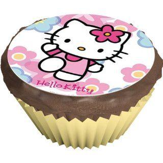 Dekoback 12 essbare Muffinaufleger Hello Kitty winkend, 1er Pack (1 x