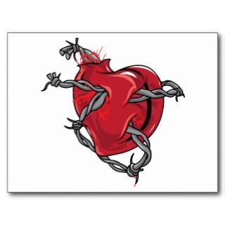 Red Heart Barbed Wire Love Hearts Postcard