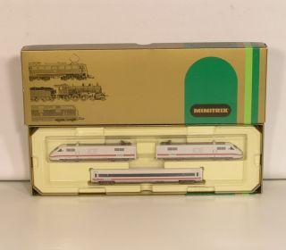 4e41  Minitrix 12855 ICE 3 teilig Amtrak 401/802 mit Verpackung