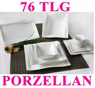 Porzellan 76 tlg Tafelservice Eckig Teller Set Geschirr 12 Personen