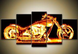 Feuer Gerahmte Leinwand Bilder 150 x 70 Chopper Motorrad Rocker