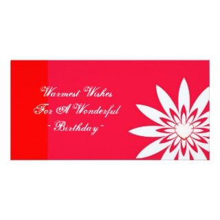 Warmest birthday wishes, red & white floral customized photo card