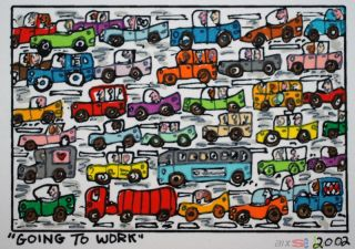 James Rizzi Serie 81 Prints on the wall going to work 2002