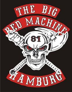 SUPPORT BigRedMachine HAMBURG Hooded Kapuzen Sweatshirt Axe & Skull S
