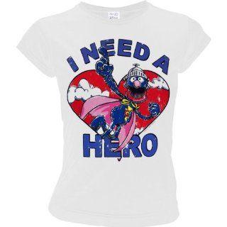 SESAME STREET Super Grover Retro Damen T Shirt I NEED A HERO   WEISS