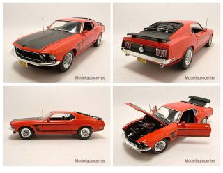 Ford Mustang Boss 302 1969 orange/schwarz, Modellauto 118 / Highway