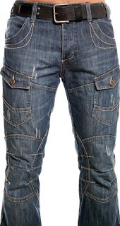 98 86 HERREN JEANS HOSE CROSS DENIM MIDDLE BLUE DENIM W29   W38 / L30