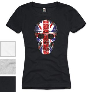 GB Skull Damen T Shirt Union Jack England Great Britain United Kingdom