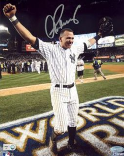 Alex Rodriguez 2009 WS Arms Raised Celebration Vertical (MLB Auth) Photo