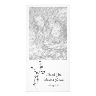 Black and White Roses Wedding Thank You Photo Card