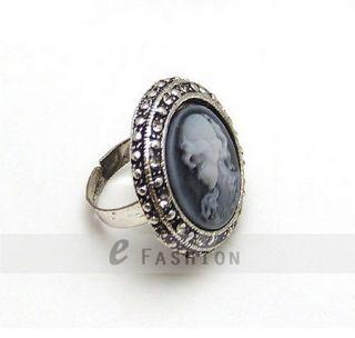Scheibe Style Ringe Retro Strass Gravur Damen Fingerring NEU 102 0202