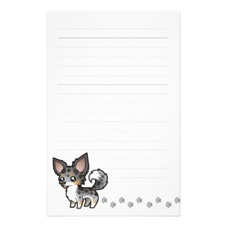 Cartoon Chihuahua (merle tricolor long coat) Personalized Stationery
