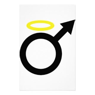 male angel icon stationery design