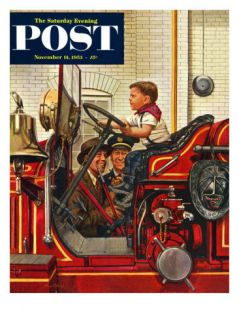 Boy on Fire Truck Saturday Evening Post Cover, November 14, 1953 Giclee Print by Stevan Dohanos