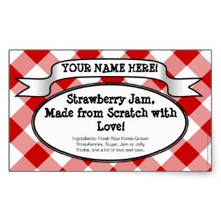 Personalized Canning Jar Label, Red Gingham Jelly Rectangle Sticker