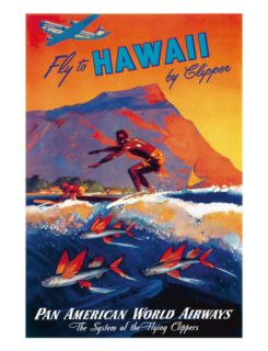 Fly To Hawaii by Clipper, Pan American World Airways c.1940s Giclee Print by M. Von Arenburg