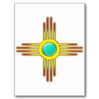 Zia sun   Zia Pueblo   strength symbol Postcard