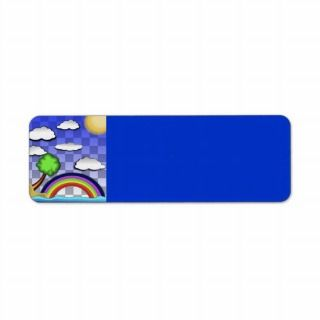 rainbow on beach colourful fun cartoon nature return address labels