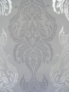 Barock Vlies Tapete   grau silber metallic   BN 122 03   NEU