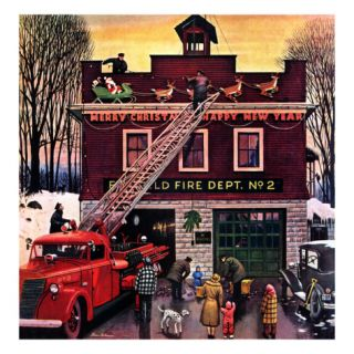Christmas at the Fire Station, December 16, 1950 Giclee Print by Stevan Dohanos