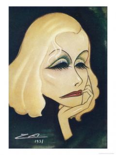 Greta Garbo Swedish American Film Actress: a Caricature Giclee Print by Nino Za
