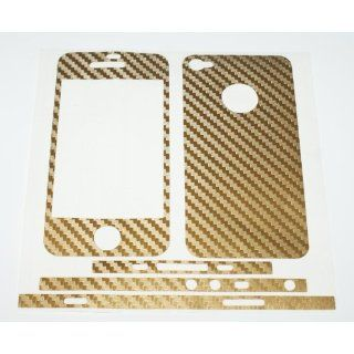 Skin Cover SELBSKLEBEND Carbon Gold Folie f. Iphone 4 4G KOMPLETT
