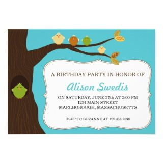 Birdies Birthday Party Invite