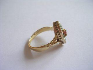 Prachtvoller sehr dekorativer Jugendstil Ring Gold 585 Rubin Smaragde