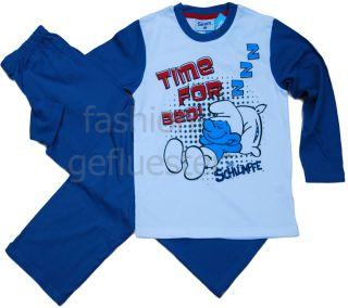 NEU Schlafanzug DiE SCHLueMPFE 128 134 Pyjama lang SMURFS weiss blau
