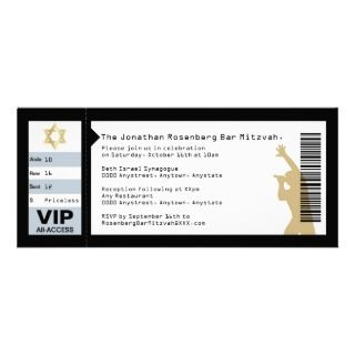 Ticket Bar Mitzvah Invitation in Black invitations by Lowschmaltz