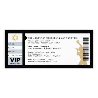 Ticket Bar Mitzvah Invitation in Black invitations by Lowschmaltz