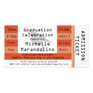 Burnt Orange Admission Ticket Party Invitation Customized Photo Card