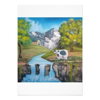 Cow waterfall folk art oil painting by G Bruce Custom Announcement