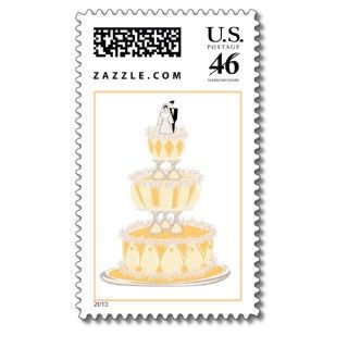 Peach Color Wedding Cake Invitation Postage Stamps Postage Stamps