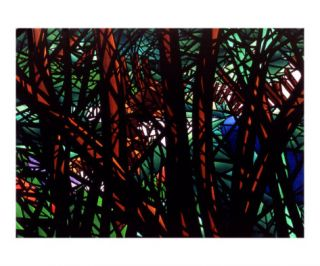 Stained Glass Forest Giclee Print by linda messier