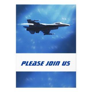 F16 Falcon Fighter Jet In Flight Custom Invitation
